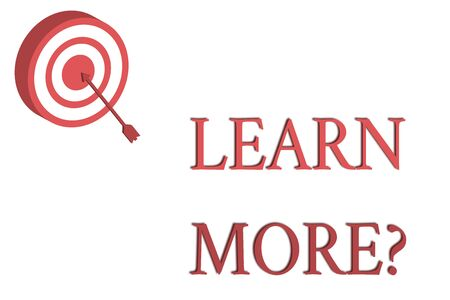 Word writing text Learn More question. Business photo showcasing gain knowledge or skill studying practicing Dart Board in Circle Concentric Style with Arrow Hitting Center Bulls Eye