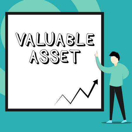 Conceptual hand writing showing Valuable Asset. Concept meaning Your most valuable asset is your ability or capacity Man standing pointing up blank rectangle Geometric background