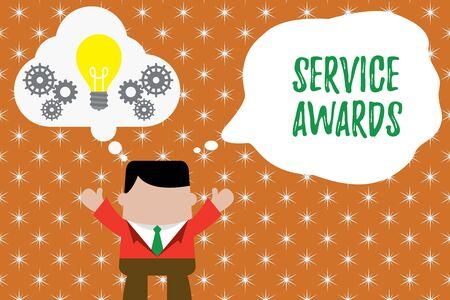 Writing note showing Service Awards. Business concept for Recognizing an employee for his or her longevity or tenure Man hands up imaginary bubble light bulb working together Imagens