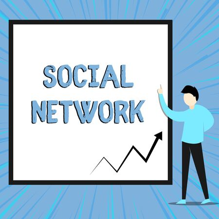 Word writing text Social Network. Business photo showcasing Interactions Sharing Information Interdemonstratingal relationship View young man standing pointing up blank rectangle Geometric background