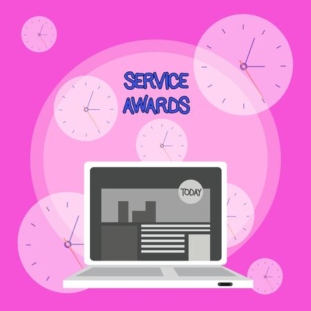 Writing note showing Service Awards. Business concept for Recognizing an employee for his or her longevity or tenure Laptop Switched On with Website Homepage Screen Web Search