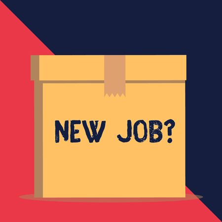 Writing note showing New Job Question. Business concept for formal meeting which someone asked find out if they are suitable Close up front view brown cardboard sealed box lid. Blank background 写真素材 - 128273633
