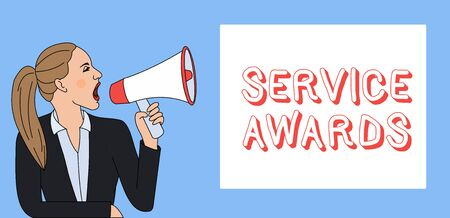 Writing note showing Service Awards. Business concept for Recognizing an employee for his or her longevity or tenure Woman Jacket Ponytail Shouting into Loudhailer Rectangular Box