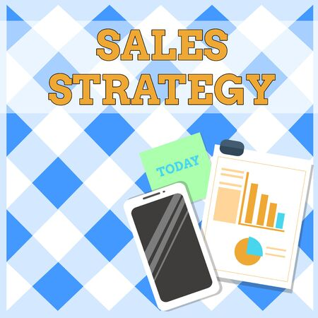 Conceptual hand writing showing Sales Strategy. Concept meaning Plan for reaching and selling to your target market Marketing Layout Smartphone Sticky Notes with Pie Chart and Bar Graph Standard-Bild