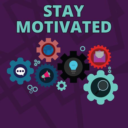 Word writing text Stay Motivated. Business photo showcasing Reward yourself every time you reach a goal with knowledge Set of Global Online Social Networking Icons Inside Colorful Cog Wheel Gear Banque d'images - 128274091