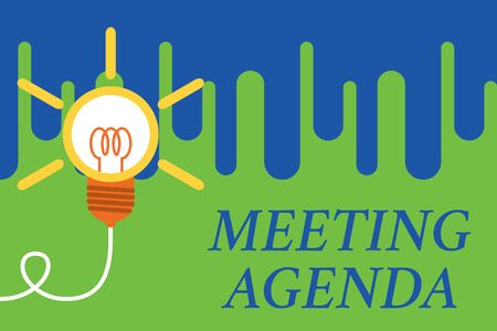 Handwriting text Meeting Agenda. Conceptual photo An agenda sets clear expectations for what needs to a meeting Big idea light bulb. Successful turning idea invention innovation. Startup