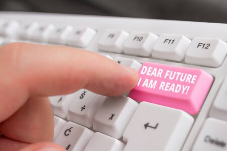 Writing note showing Dear Future I Am Ready. Business concept for suitable state for action or situation being fully prepared White pc keyboard with note paper above the white background