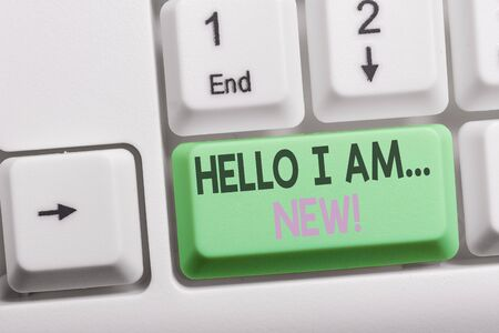 Text sign showing Hello I Am New. Business photo showcasing used as greeting or to begin telephone conversation White pc keyboard with empty note paper above white background key copy space