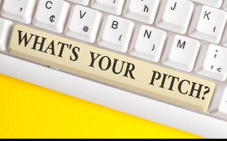 Handwriting text writing What S Is Your Pitch question. Conceptual photo asking about property of sound or music tone White pc keyboard with empty note paper above white background key copy space Stock Photo - 128357176