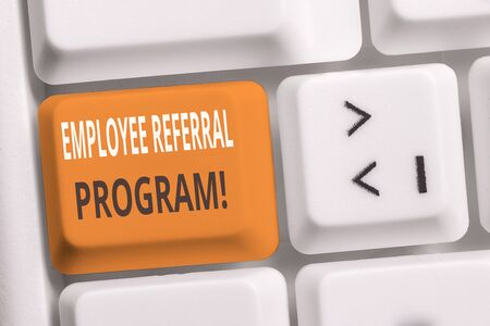 Handwriting text writing Employee Referral Program. Conceptual photo internal recruitment method employed by organizations White pc keyboard with empty note paper above white background key copy space