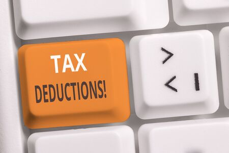Handwriting text writing Tax Deductions. Conceptual photo reduction income that is able to be taxed of expenses White pc keyboard with empty note paper above white background key copy space