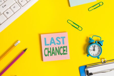 Text sign showing Last Chance. Business photo showcasing final opportunity to achieve or acquire something you want Flat lay above copy space on the white crumpled paper