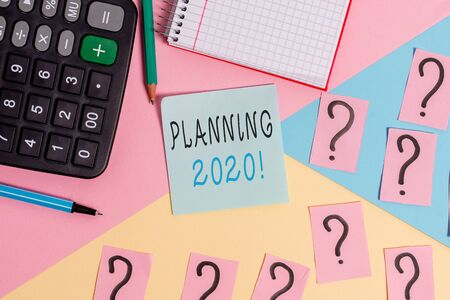 Word writing text Planning 2020. Business photo showcasing process of making plans for something next year Mathematics stuff and writing equipment above pastel colours background