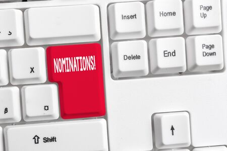 Word writing text Nominations. Business photo showcasing action of nominating or state being nominated for prize White pc keyboard with empty note paper above white background key copy space