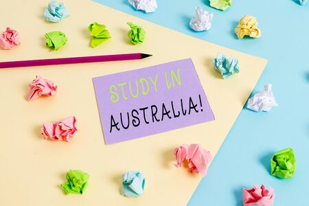 Word writing text Study In Australia. Business photo showcasing going into foreign country order complete your studies