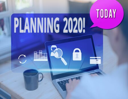 Text sign showing Planning 2020. Business photo text process of making plans for something next year