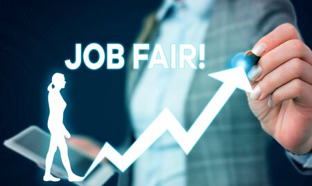 Writing note showing Job Fair. Business concept for event in which employers recruiters give information to employees Female human wear formal work suit presenting smart device