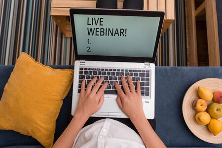Handwriting text Live Webinar. Conceptual photo presentation lecture or seminar transmitted over Web
