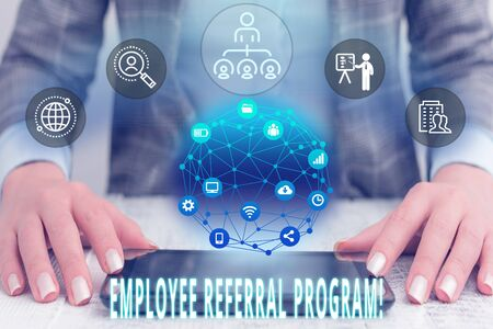 Conceptual hand writing showing Employee Referral Program. Concept meaning internal recruitment method employed by organizations Female human wear formal work suit presenting smart device