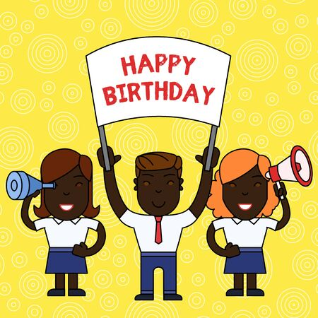 Word writing text Happy Birthday. Business photo showcasing The birth anniversary of a demonstrating is celebrated with presents People with Blank Banner, Megaphone and Spy Glass Peaceful Demonstration Banque d'images
