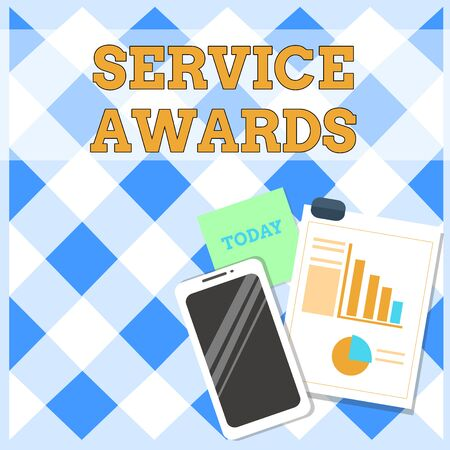 Conceptual hand writing showing Service Awards. Concept meaning Recognizing an employee for his or her longevity or tenure Layout Smartphone Sticky Notes with Pie Chart and Bar Graph Imagens