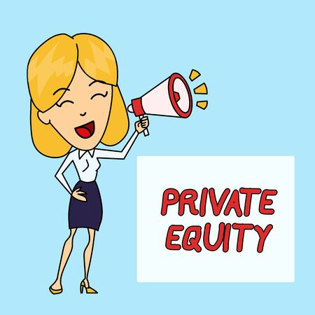 Writing note showing Private Equity. Business concept for Capital that is not listed on a public exchange Investments Young Woman Speaking in Blowhorn Colored Backgdrop Text Box
