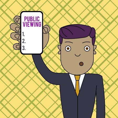 Conceptual hand writing showing Public Viewing. Concept meaning Able to be seen or known by everyone Open to general view Man Holding Vertical Smartphone Device Screen for Attention