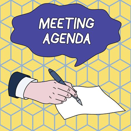 Text sign showing Meeting Agenda. Business photo showcasing An agenda sets clear expectations for what needs to a meeting Male Hand Formal Suit Holding Ballpoint Pen Blank Piece of Paper Writing Imagens