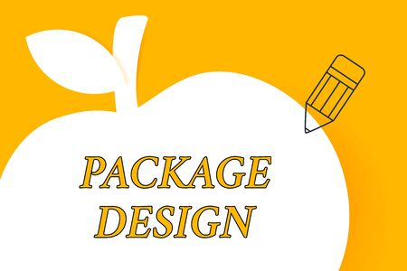 Writing note showing Package Design. Business concept for Strategy in creating unique product wrapping or container Pencil Outline Pointing to Empty White Copy Space in Form of Apple Banque d'images