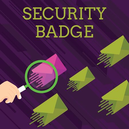 Text sign showing Security Badge. Business photo showcasing Credential used to gain accessed on the controlled area Magnifying Glass on One Different Color Envelope and others has Same Shade Stock Photo