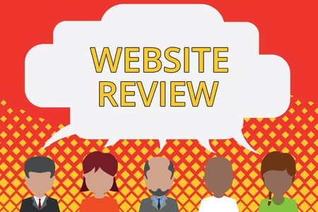 Word writing text Website Review. Business photo showcasing Reviews that can be posted about businesses and services Five different races persons sharing blank speech bubble. People talking Imagens