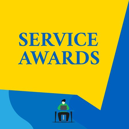 Writing note showing Service Awards. Business concept for Recognizing an employee for his or her longevity or tenure Young man sitting chair desk working open laptop geometric background