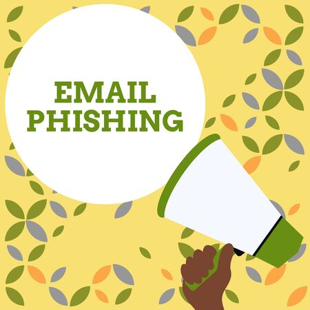 Word writing text Email Phishing. Business photo showcasing Emails that may link to websites that distribute malware Hand Holding Loudhailer Empty Round Speech Text Balloon Announcement New