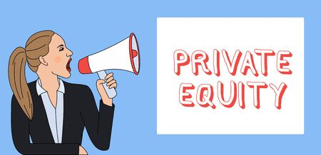 Writing note showing Private Equity. Business concept for Capital that is not listed on a public exchange Investments Woman Jacket Ponytail Shouting into Loudhailer Rectangular Box