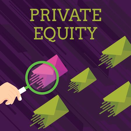 Text sign showing Private Equity. Business photo showcasing Capital that is not listed on a public exchange Investments Magnifying Glass on One Different Color Envelope and others has Same Shade Imagens