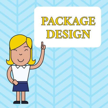Conceptual hand writing showing Package Design. Concept meaning Strategy in creating unique product wrapping or container Woman Standing with Raised Left Index Finger Pointing at Box Banque d'images