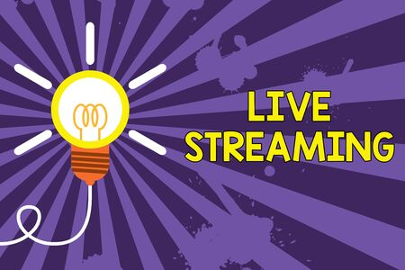 Word writing text Live Streaming. Business photo showcasing Transmit live video coverage of an event over the Internet Big idea light bulb. Successful turning idea invention innovation. Startup Imagens