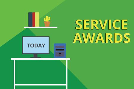 Word writing text Service Awards. Business photo showcasing Recognizing an employee for his or her longevity or tenure Desktop computer wooden table background shelf books flower pot ornaments Imagens