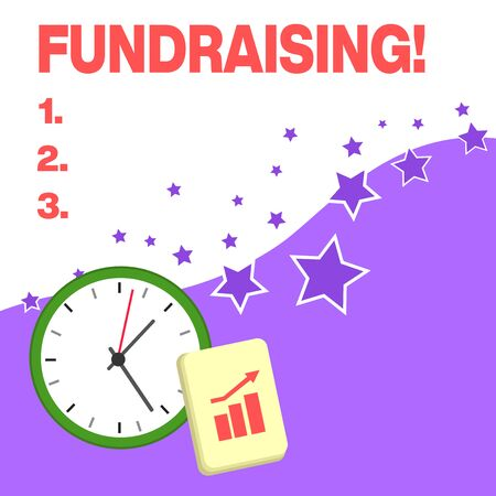 Text sign showing Fundraising. Business photo text seeking to generate financial support for charity or cause Layout Wall Clock Notepad with Escalating Bar Graph and Arrow Pointing Up
