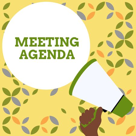 Word writing text Meeting Agenda. Business photo showcasing An agenda sets clear expectations for what needs to a meeting Hand Holding Loudhailer Empty Round Speech Text Balloon Announcement New Imagens