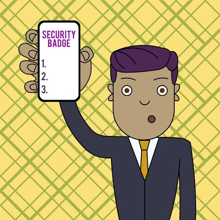 Conceptual hand writing showing Security Badge. Concept meaning Credential used to gain accessed on the controlled area Man Holding Vertical Smartphone Device Screen for Attention
