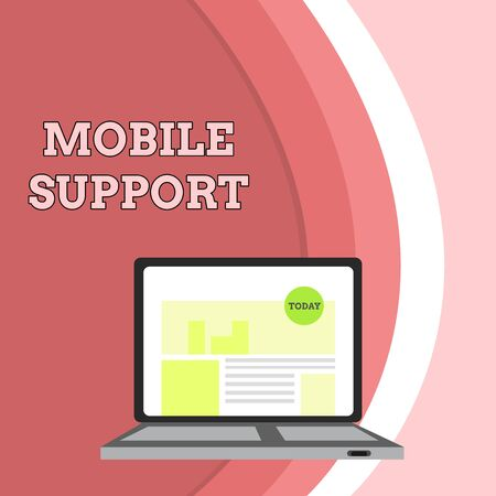 Conceptual hand writing showing Mobile Support. Concept meaning Provides maintenance on portable devices technical issues Laptop Switched On with Website Homepage Screen Web Search