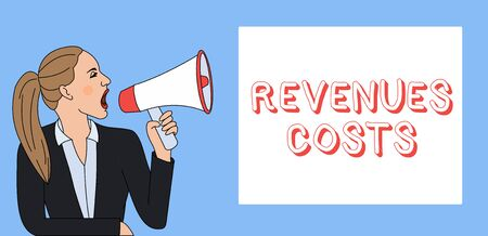 Writing note showing Revenues Costs. Business concept for Total amount of money in Manufacturing and Delivery a product Woman Jacket Ponytail Shouting into Loudhailer Rectangular Box