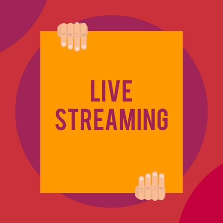 Word writing text Live Streaming. Business photo showcasing Transmit live video coverage of an event over the Internet Two hands holding big blank rectangle up down Geometrical background design