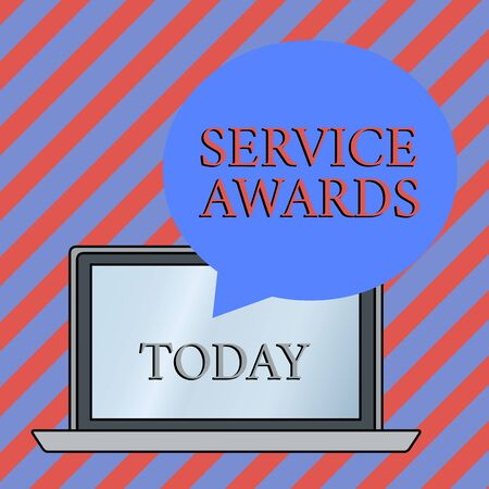 Conceptual hand writing showing Service Awards. Concept meaning Recognizing an employee for his or her longevity or tenure Round Shape Speech Bubble Floating Over Laptop Backdrop
