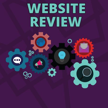 Word writing text Website Review. Business photo showcasing Reviews that can be posted about businesses and services Set of Global Online Social Networking Icons Inside Colorful Cog Wheel Gear