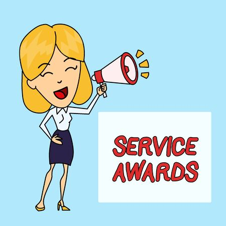 Writing note showing Service Awards. Business concept for Recognizing an employee for his or her longevity or tenure Young Woman Speaking in Blowhorn Colored Backgdrop Text Box