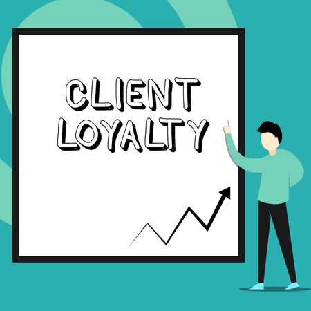 Conceptual hand writing showing Client Loyalty. Concept meaning The result of consistently positive satisfaction to clients Man standing pointing up blank rectangle Geometric background Archivio Fotografico