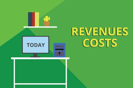 Word writing text Revenues Costs. Business photo showcasing Total amount of money in Manufacturing and Delivery a product Desktop computer wooden table background shelf books flower pot ornaments