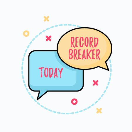 Conceptual hand writing showing Record Breaker. Concept meaning someone or something that beats previous best result Pair of Overlapping Bubbles of Oval and Rectangular Shape